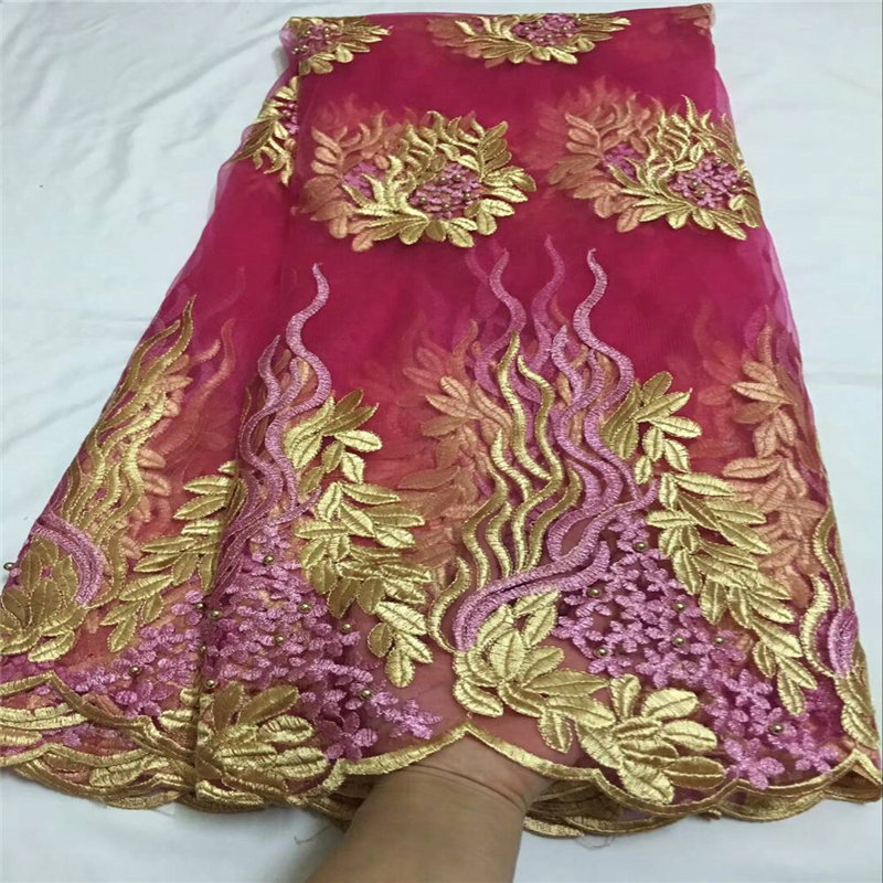 Nice design african tulle lace fabric with fuchsia color and beads french lace fabric 5 yards net lace fabric GOOD QUALITYNice design african tulle lace fabric with fuchsia color and beads french lace fabric 5 yards net lace fabric GOOD QUALITY