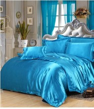Silk bedding set lake blue satin california king size queen full twin duvet cover fitted bed sheet bedspreads double single 6pcs