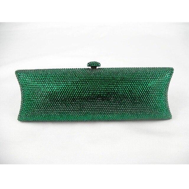 735 Emerald Green Crystal Lady Fashion Bridal Night Metal Evening Purse Clutch Bag Case Box Handbag