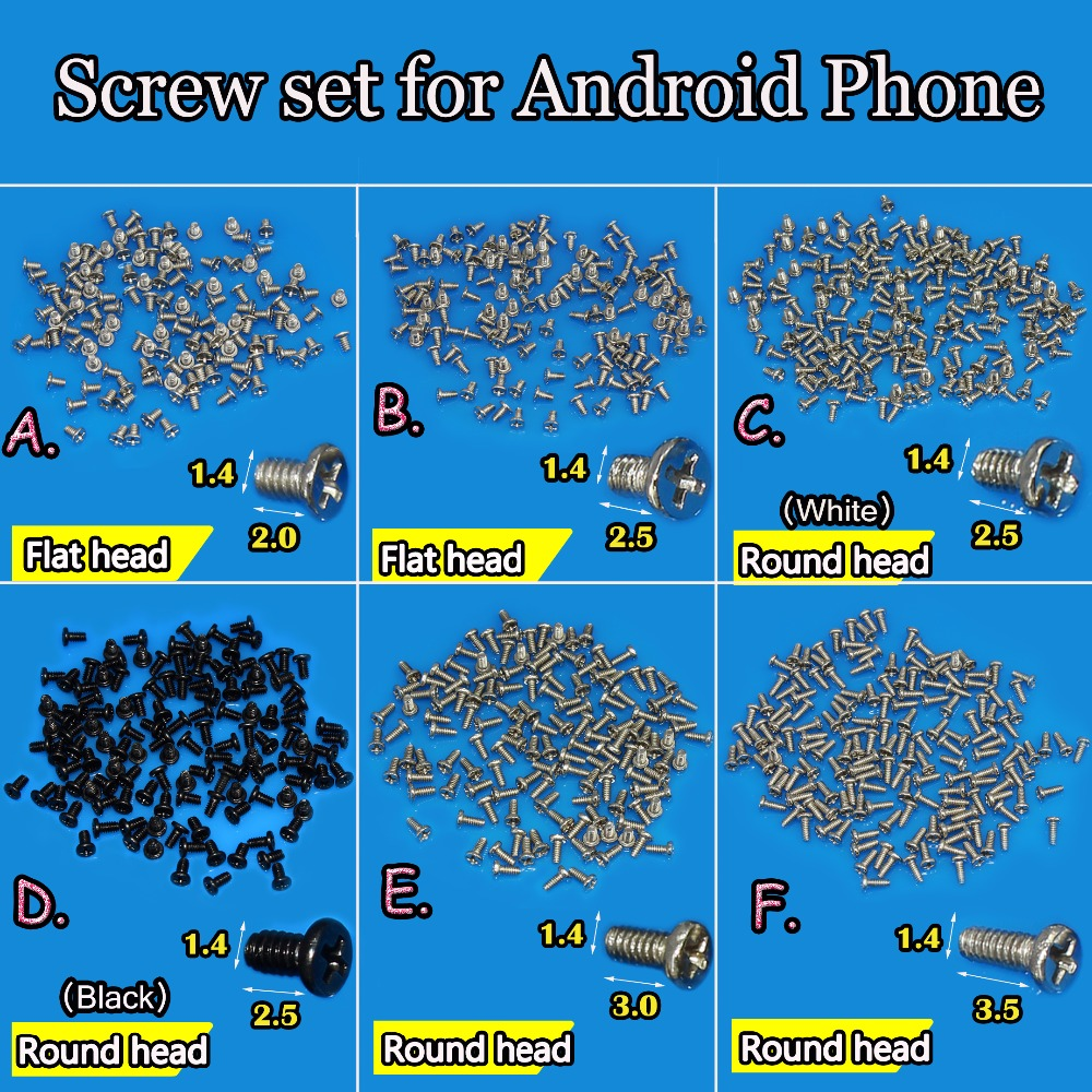 JCD  Flat Head/roundhead New M1.4 Cell Phone Screws Set For Android Phone