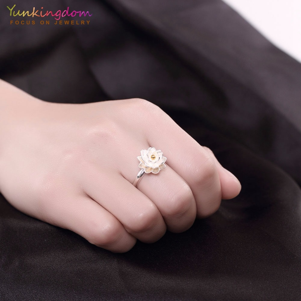 Yunkingdom 100% silver 925 rings Engagement shiny flower design ...