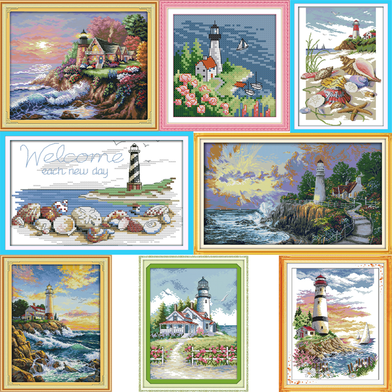 Needlework Embroidery DIY Painting Cross Stitch Kits 14ct 11ct Lighthouse Series Landscape Cross-stitch Sets For Embroidery