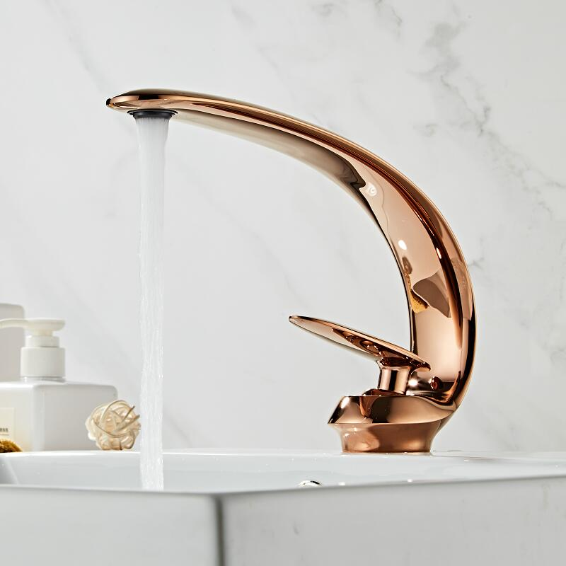 Basin Faucet Rose Gold/Black/Gold Bathroom Sink Mixer Tap Brass Wash Basin Faucet Single Handle Single Hole Crane For Bathroom
