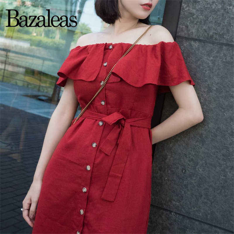 e9bb2602ffee0 Bazaleas Off Shoulder Women vestidos Center Buttons Dresses Fashion Vintage  Red Midi Dress Casual Waist Tie Cotton Women Dress