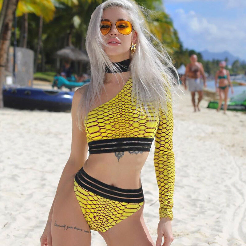 Yellow One-shoulder Snake Skin Swimsuit Long Sleeve Female Sexy High Waist Bikini Set Women 2019 Brazilian Padded Bathing Suit