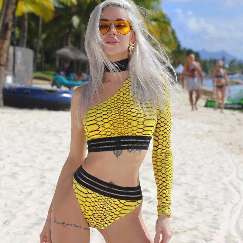 Yellow One-shoulder Snake Skin Swimsuit Long Sleeve Female Sexy High Waist Bikini Set Women 2019 Brazilian Padded Bathing Suit