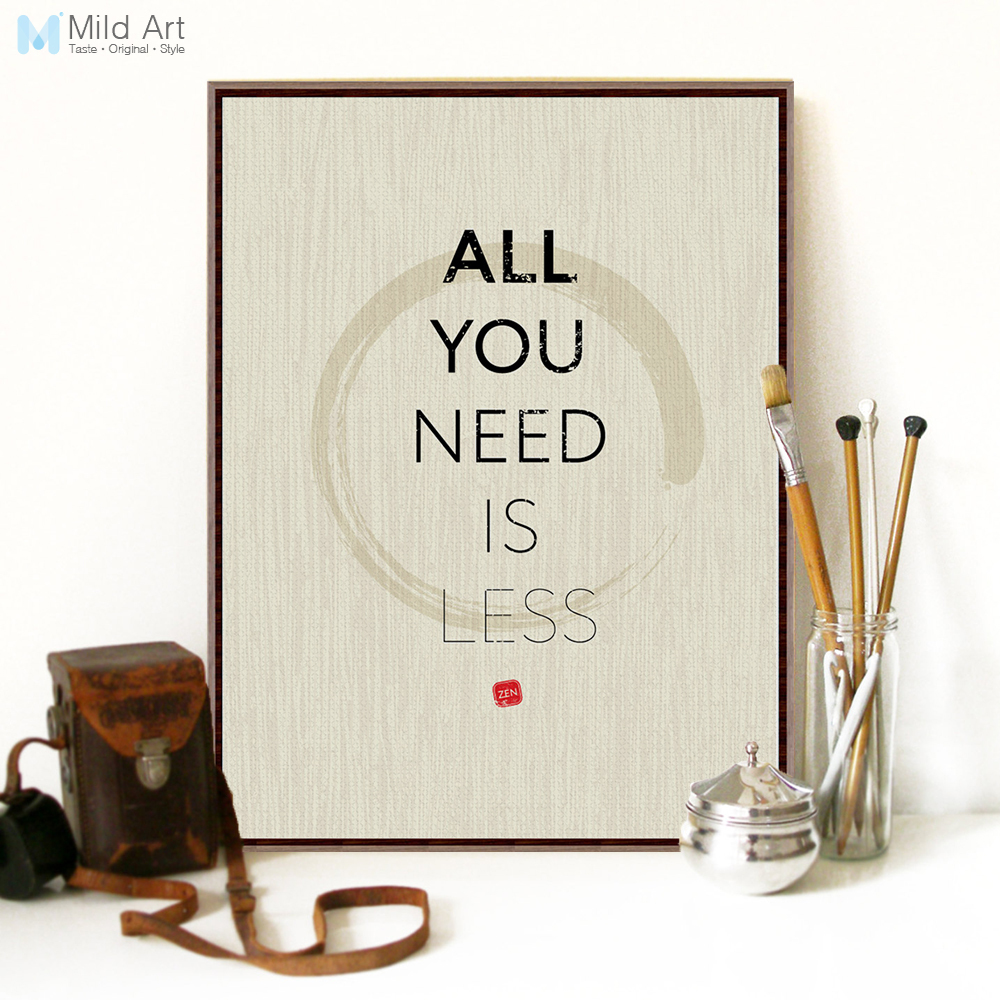Zen Quotes On Life Modern Minimalist Inspirational Life Zen Quotes A4 Large Art Print