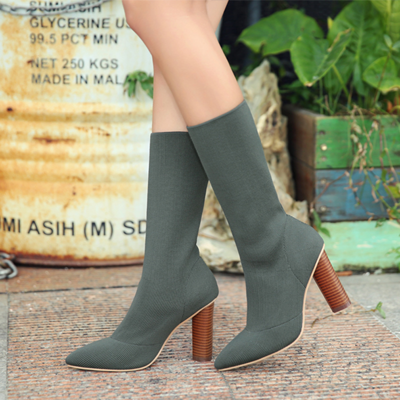 Fashion Stretch Fabric Short Booties Chunky High Heel Shoes Woman Pointed Toe Ankle Boots Knit Sock Botines Mujer Women Pumps 2017 fashion women shoes stretch fabric women boots sock jersey ankle boots black green apricot high heels lady s shoes woman