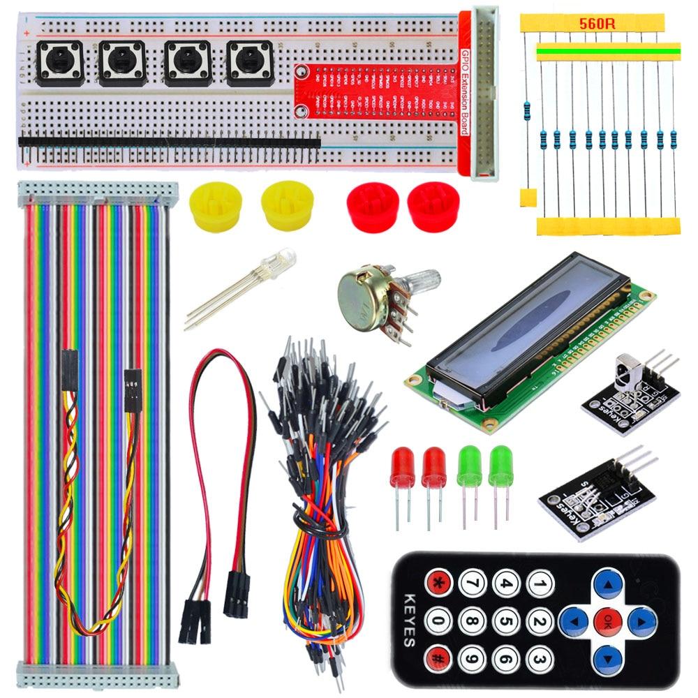 Keyes Raspberry Pi B+ Kit GPIO Shield 1602LCD Flat Cable Breadboard