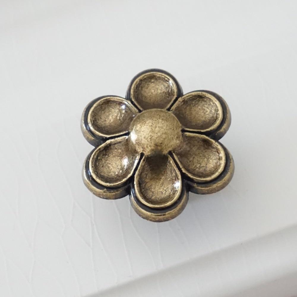 Dresser Knob Drawer Knobs Pulls Flower Metal Antique Brass