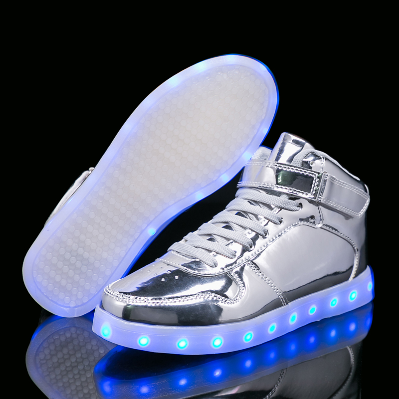 Kids Light Shoes Silver Gold 26-40 USB Charger Glowing Sneakers Led Children Light Shoes Boys Girls illuminated Luminous Sneaker children usb charger luminous shoes lace boys girls led light sneakers fashion kids night show casual shoes brand