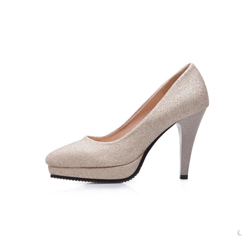 Karinluna 2018 New Style Platform Pointed Toe Large Size 33-43 Super High Heel Silver Bridesmaid Shoes Golden Wedding Shoe