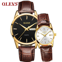 OLEVS couple watches a pair of men's watches top brand luxury ladies watch day and week clock quartz Valentine's Day gift