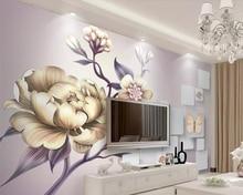 Купить с кэшбэком Beibehang wallpaper hand-painted beautiful peony flower 3D TV background wall paper home decoration living room 3d wallpaper