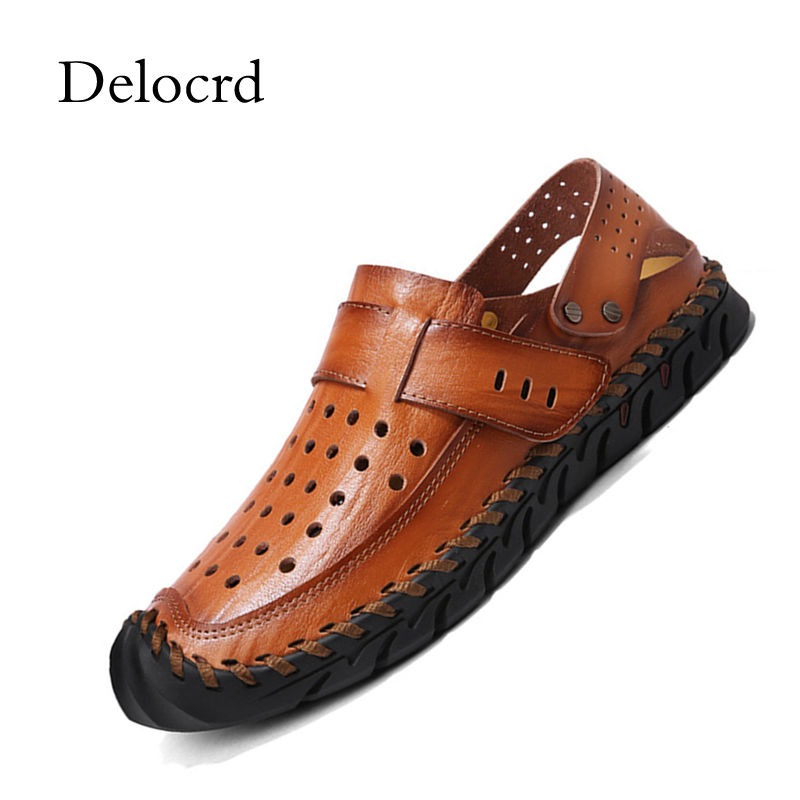 High Quality Brown Men Sandals Genuine Leather Men Beach Shoes Cool Summer Hollow Out Closed Toe Casual Breathable Sandals Shoes