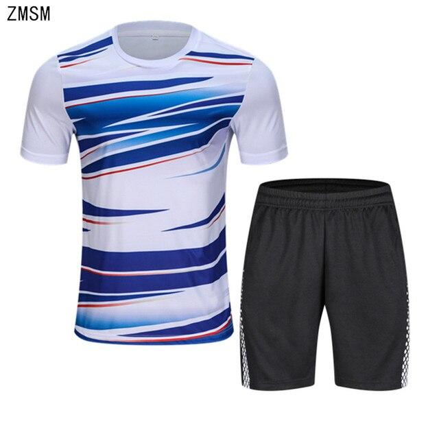 ZMSM 2018 Adult Tennis Shirts Shorts Set Men Badminton T-shirt Table Tennis Jersey  Football Running Quick Dry Sport Clothes B010 1861ba0ff