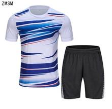 ZMSM 2018 Adult Tennis Shirts Shorts Set Men Badminton T-shirt Table Tennis Jersey Football Running Quick Dry Sport Clothes B010