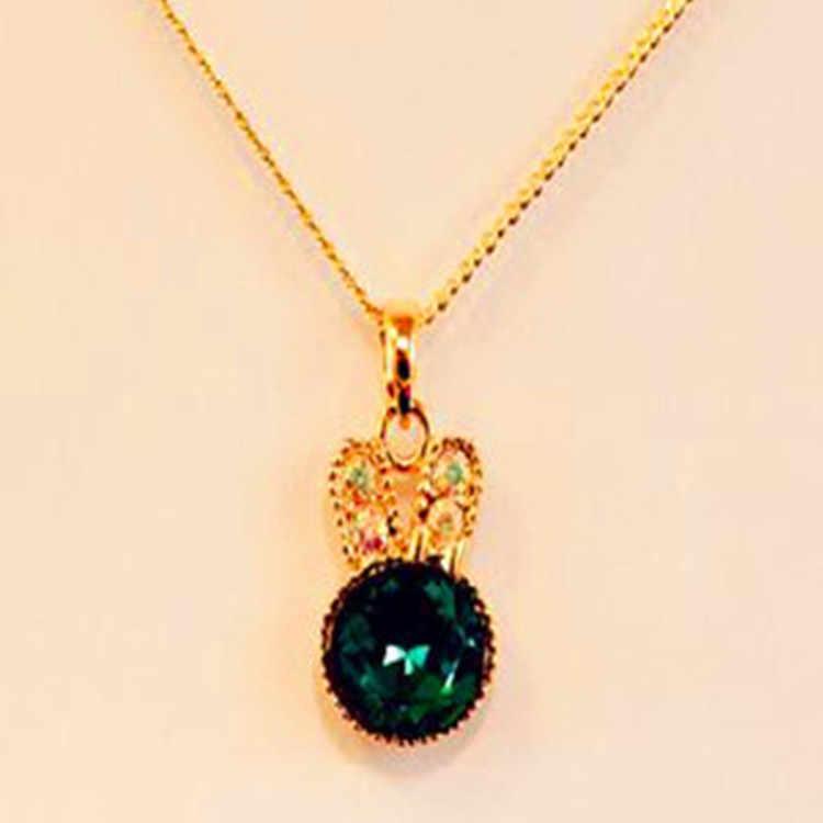 Moda europea Simple mar verde exquisita joyería lindo conejo colgante cristal collar mujer joyería Maxi collar gargantilla