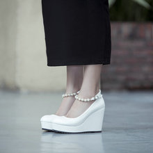 Simple Comfortable Wedge Heel Platform Shoes Female 2016 New Fashion Ankle Buckle Shoesfor Women