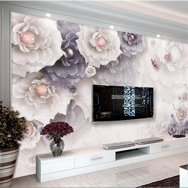 Beibehang wallpaper for walls 3 d Custom wallpaper beautiful atmosphere peony jewelry flower living room TV wall behang wallpaper for walls 3 d modern trdimensional geometry 4d tv background wall paper roll silver gray wallpapers for living room