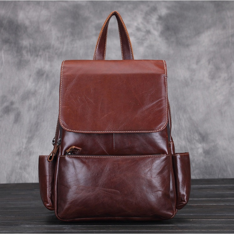 цена на New 100% Real Soft Genuine Leather Women Backpack Woman Vintage Style Ladies Strap Laptop Bag Daily Backpack Girl School #L003