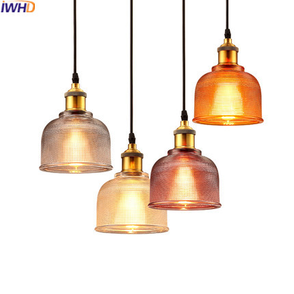 IWHD Glass Retro Vintage Pendant Light Fixtures Loft Style Industrial Lamp Kitchen Restaurant Luminaire Home Lighting Lampen iwhd iron vintage pendant light fixtures loft style industrial glass hanglamp green kitchen retro lamp dining room luminaire