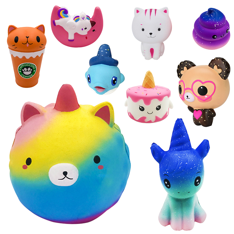 Squishy Jumbo Soft Slow Rising Toys Unicorn Cat Cup Spectacle Bear Squishy Squeeze Toy Relieve Pressure Mobile Phone Pendant