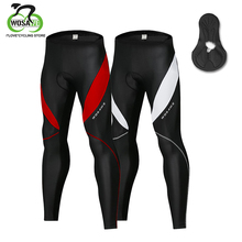 WOSAWE Men Cycling Tights GEL Pad Bib Pants MTB Winter Thermal MTB Road Bike Bicycle Pants Padded Legging Cycling Trouser Shorts spexcel high quality pro team winter thermal fleece cycling bib pants bicycle tights road mtb cool cycling gear with back pocket