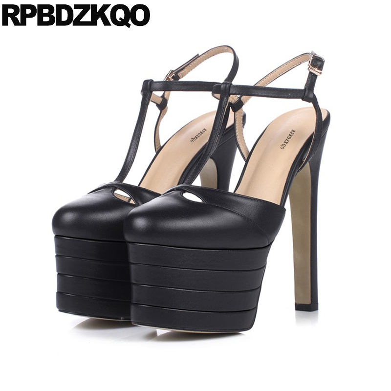 Slingback Round Toe Black Gothic Pumps Stud Brand Peep T Strap Women Stiletto Snakeskin Fetish Shoes 15cm Ultra High Heels Rivet sandals round toe t strap platform shoes big size women 11 43 high heels fetish thick black gothic ultra punk pumps 10 42 bar