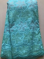 Newest African Fabric Lace Dress, 5 Yard Cotton Swiss Lace, Embroided Lace Fabric For Lady