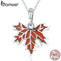 BAMOER 100 925 Sterling Silver Autumn Maple Tree Leaves Pendant Necklace For Women Luxury Sterling Silver