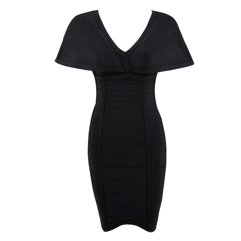 Celebrity Black Party wine Spalla Largo V Dress Dresses Della Neck Red Aderente Cap Sleeve Donne Sexy Bandage Al dqgawZd6
