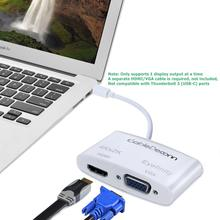 лучшая цена Thunderbolt 3 mini DisplayPort to HDMI VGA Adapter Cable for MAC Macbook Pro Air Apple computer