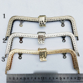 DIY M shape bronze silver golden color metal purse frame clasp for bag mouth golden knurling  3pcs/lot