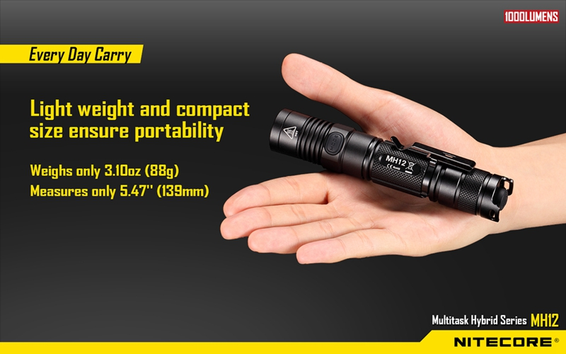 Nitecore MH12 1000 lumens CREE XM-L2 U2 LED flashlight waterproof Not Battery