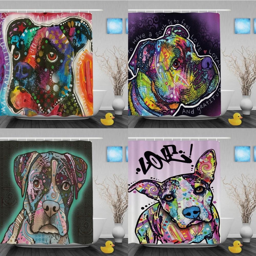 Aliexpress.com : Buy Cute Dog Boxer Shower Curtain Lightness Animal  Bathroom Shower Curtains Custom Home Decor Waterproof Polyester Bathroom  Curtain From ...