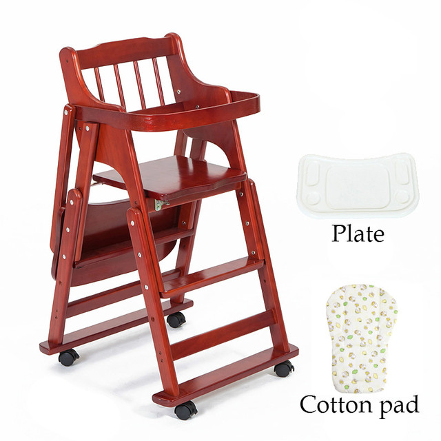 Portable Folding High Chair Industrial Design Solid Wood Baby Dining Multifunctional Feeding Rotary Plate C01