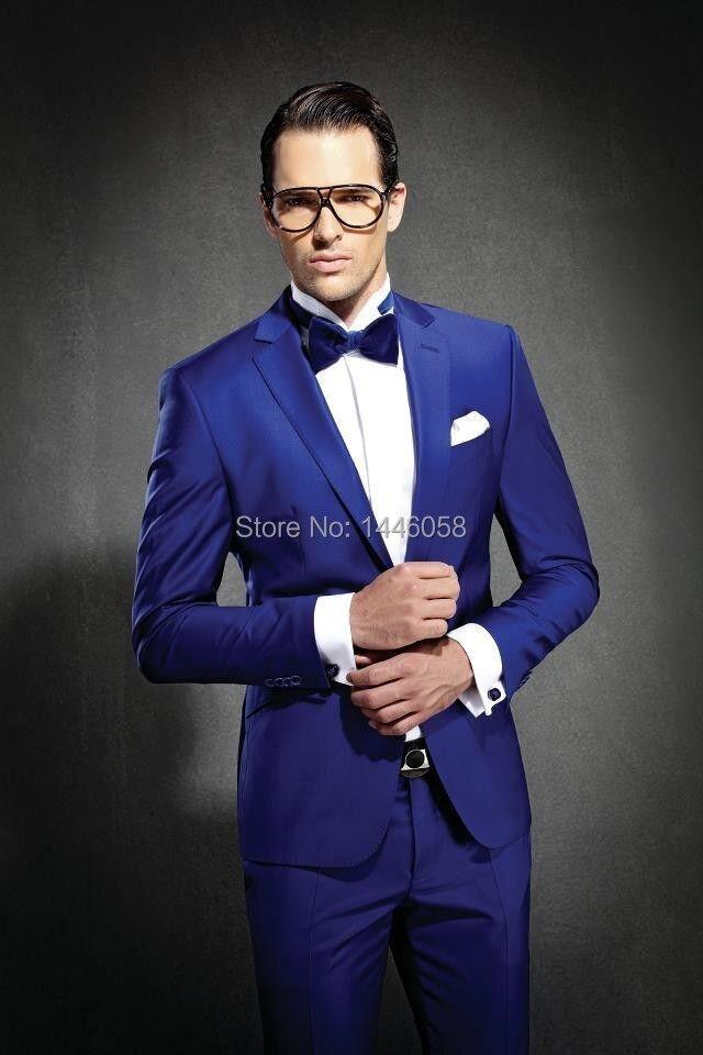 2018 Men Dress Slim Fit Suits Groom Tuxedos Royal Blue Satin Best ...