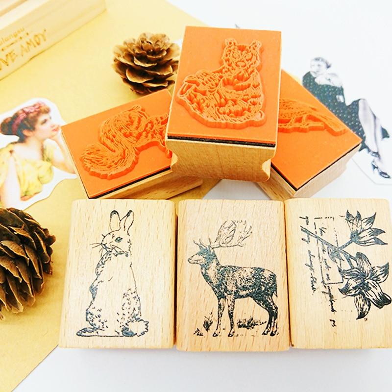 Cute Forest Animals Rabbit Vintage Decoration Stamp Wooden Rubber Stamps For Scrapbooking Stationery DIY Craft Standard Stamp