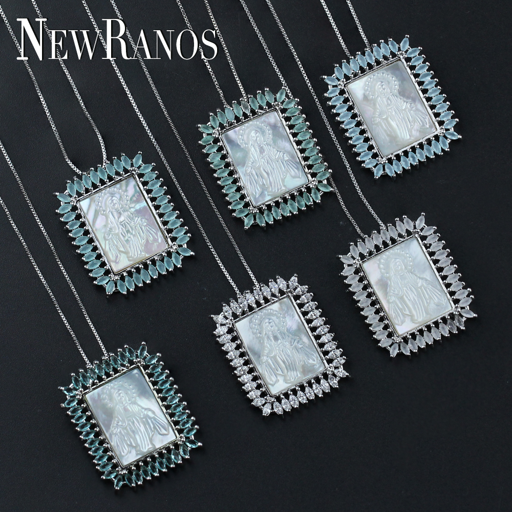 Newranos 7 couleurs vierge marie pendentif collier AAA CZ zircone blanc nacre bijoux de mode pour les femmes PGY034Newranos 7 couleurs vierge marie pendentif collier AAA CZ zircone blanc nacre bijoux de mode pour les femmes PGY034
