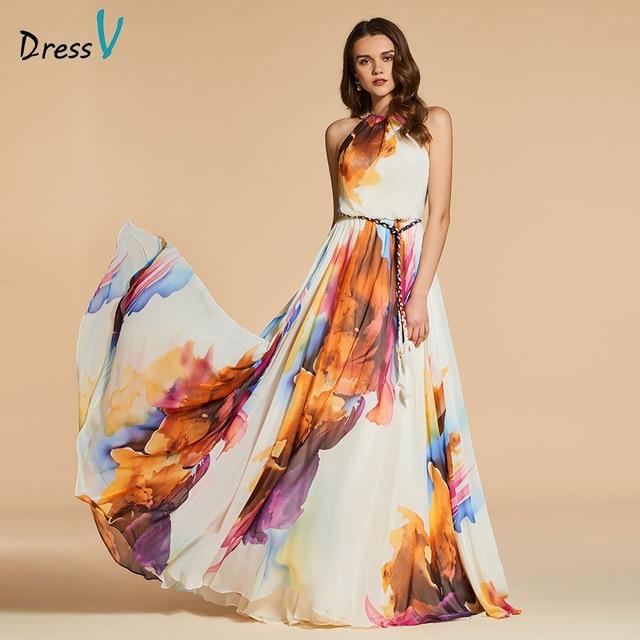 Dressv שמלת ערב סקופ צוואר קו אלגנטי ללא שרוולים באורך רצפת הדפסת מסיבת חתונה רשמי שמלת ערב שמלות