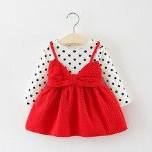 DIIMUU Infant Toddler Kids Clothing Girls Dress Children Casual Dot Printing Princess Cute Long Sleeve Cotton Bow-knot Dresses