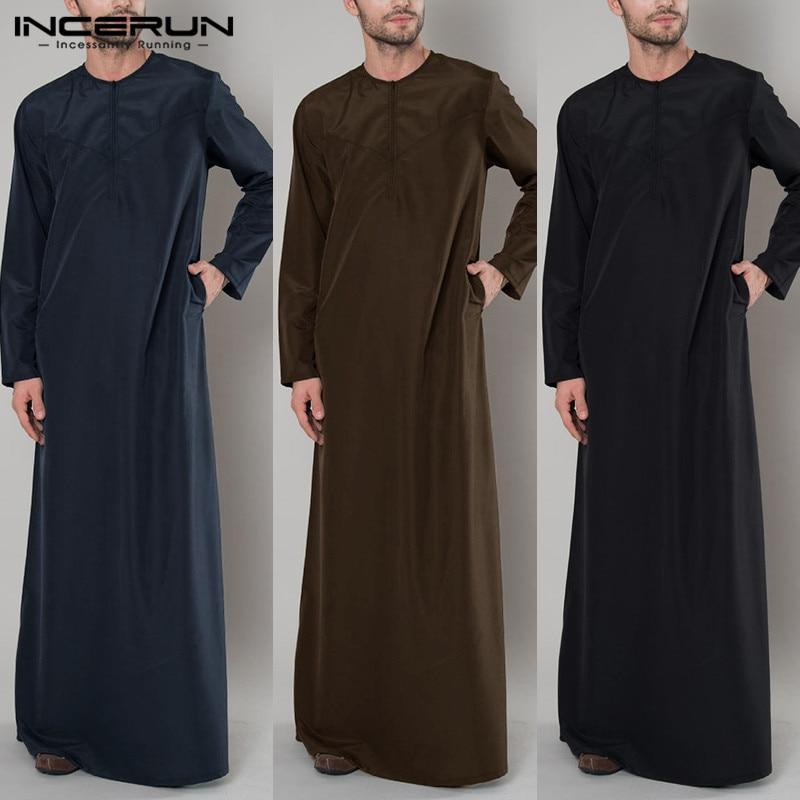 Mens Muslim Kaftan Islamic Arabic Robes Long Sleeve Zipper Loose Abaya Dubai Saudi Arabia Men Clothes 2019 Jubba Thobe INCERUN