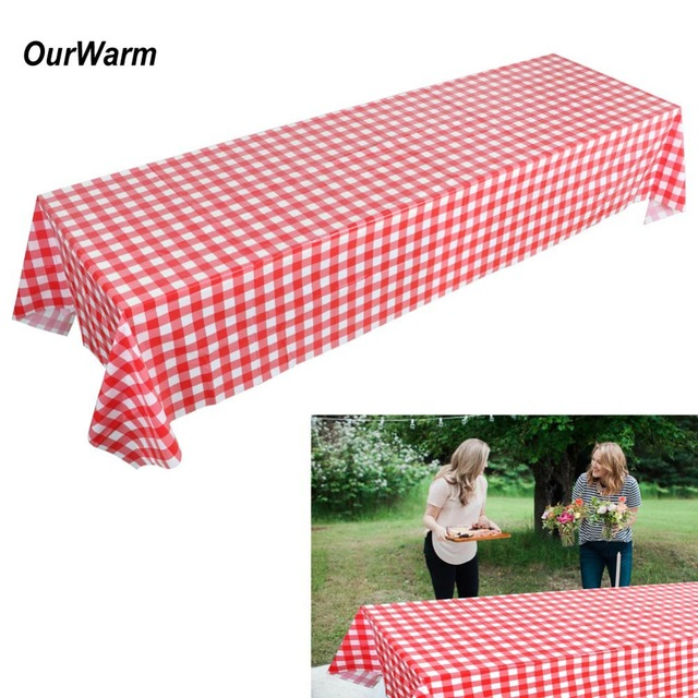Ourwarm 137 274cm Red And White Checkered Tablecloths Disposable Plastic Waterproof Table Cover Birthday Picnic Party Supplies