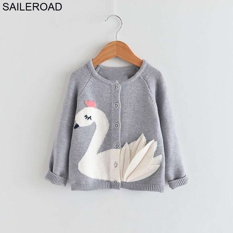 SAILEROAD 2-7Years Cute Swan Appliques Winter Sweater Girl Autumn Kids Girls Cardigan Autumn Clothes Toddler Cardigan Menina