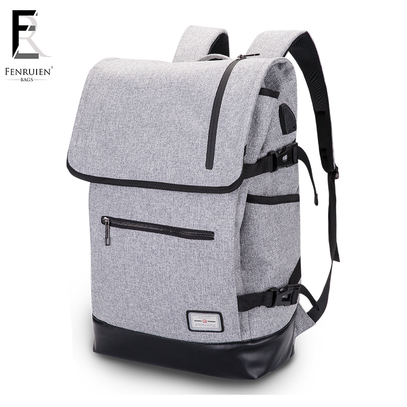 FRN Large Capacity 15.6 Inch Laptop Backpack Men USB Charging Backpack Bag Black Women Bag Waterproof Mochila Masculina Male baijiawei men and women laptop backpack mochila masculina 15 inch backpacks luggage