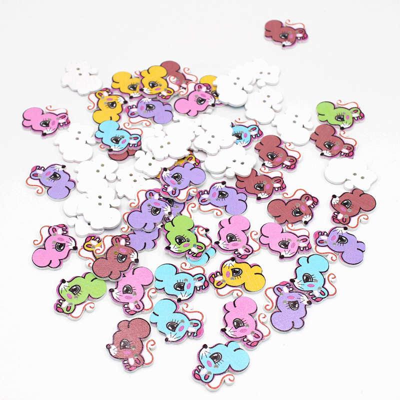 20 или 50 шт/смешанные цвета Белочка многоцветный Botones 2 отверстия деревянные Кнопки для рукоделия Швейные аксессуары Скрапбукинг