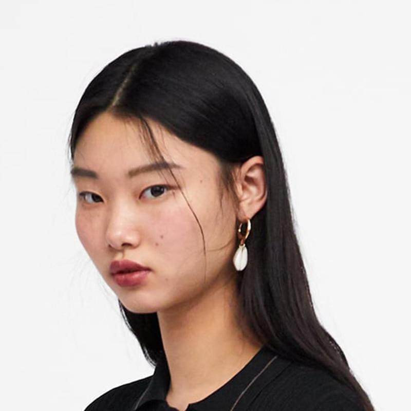 AENSOA Elegant Shell Alloy Drop Earrings ZA Cute Chic Statement Dangle Earrings for Women Wedding Party Gifts Irregular Jewelry 7