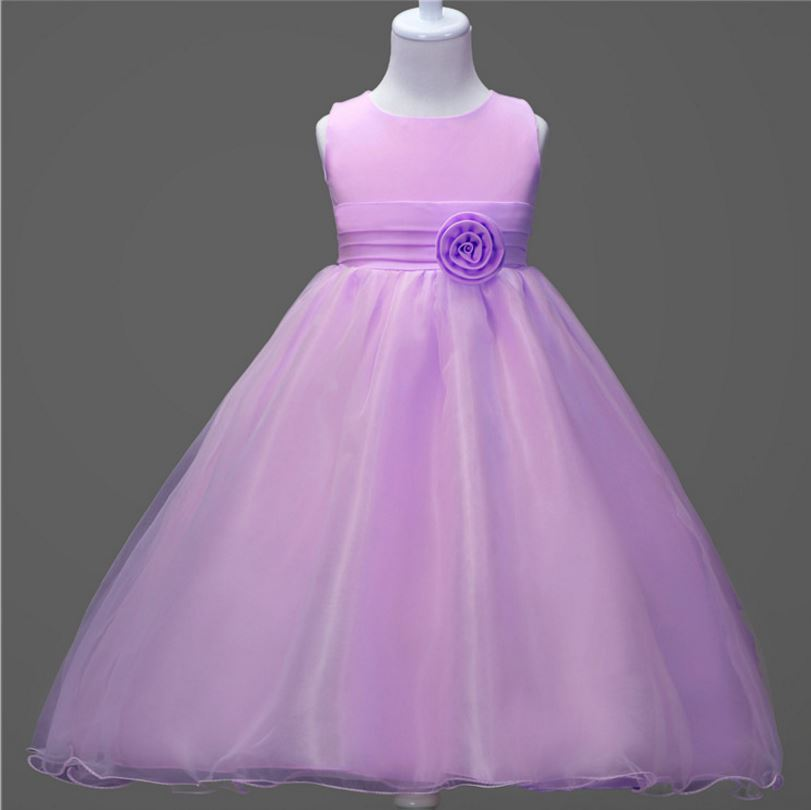 Purple wedding dresses for little girl rose petals flower for Wedding dresses for young girls