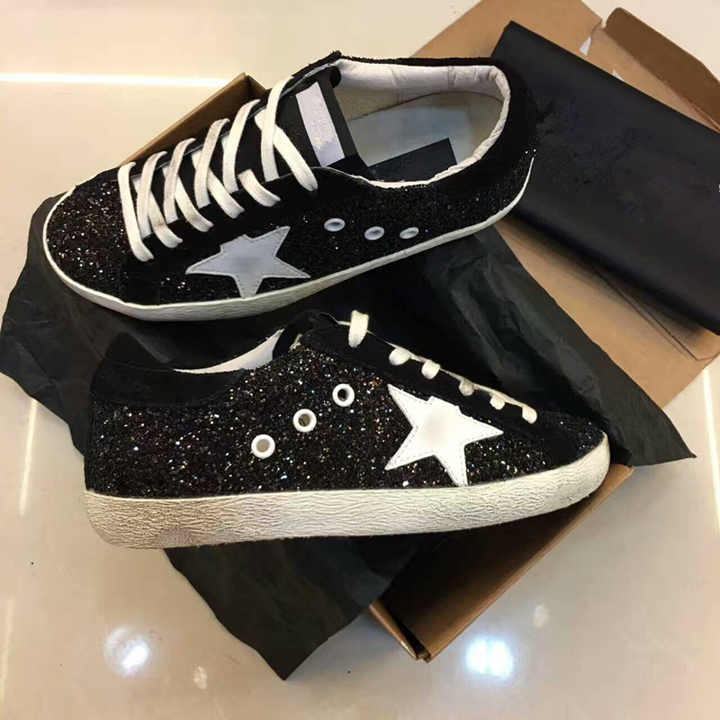 Detail Feedback Questions about Spring Autumn Women Trainers New Glitter  Leather Do Old Dirty Shoes Black White Woman Sequins Star Fleeces Shoes  zapatos de ... 582049a6254f